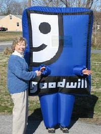 goodwill costume, smiling G, inflatable costume