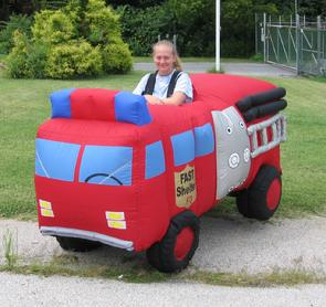 fire truck costume, inflatable costume, inflatable fire truck